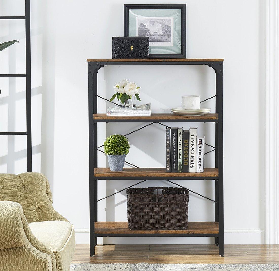 "O&K Furniture 4-Shelf Industrial Vintage Bookcase, Metal Bookshelf, 48""H x 33""W x 13""D, Barn-Wood Finish by O&K Furniture (Image #3)"