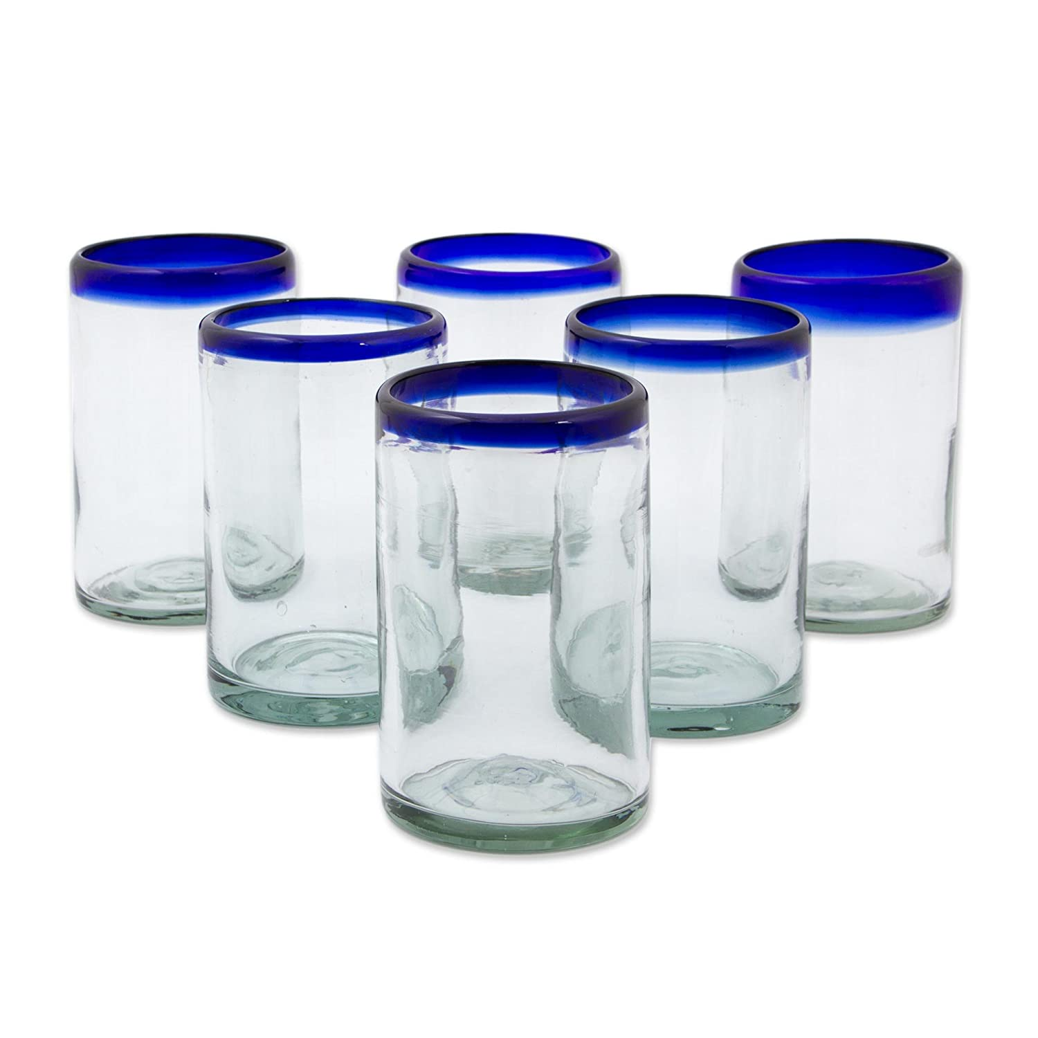 NOVICA Artisan Crafted Hand Blown Clear Blue Rim Recycled Glass Juice Glasses, 14 oz. 'Classic' (set of 6) 11461