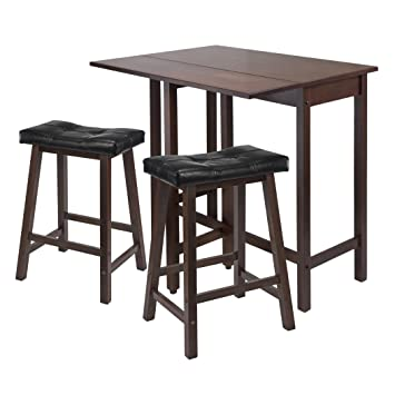 winsome lynnwood drop leaf kitchen table with 2 cushion saddle seat stools 3 piece. Interior Design Ideas. Home Design Ideas