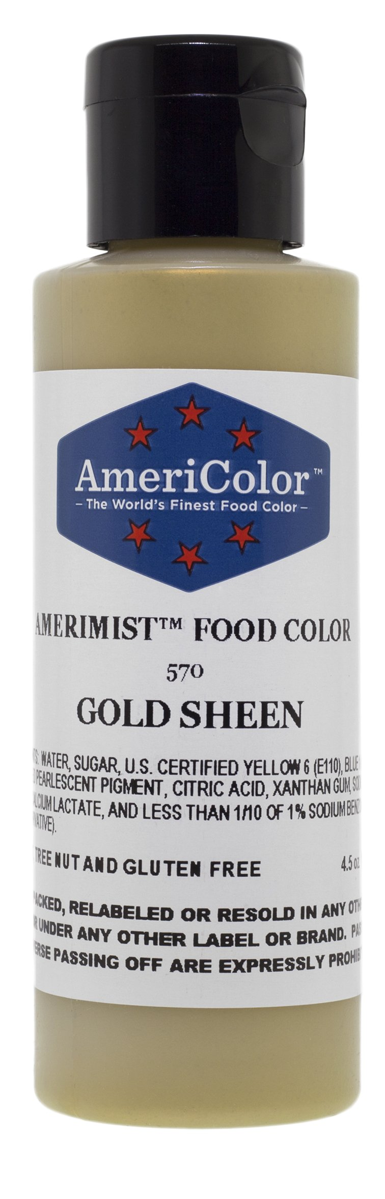 Americolor Amerimist Edible Paint and Airbrush Food Color, 4 1/2-Ounce, Gold Sheen by AmeriColor (Image #1)