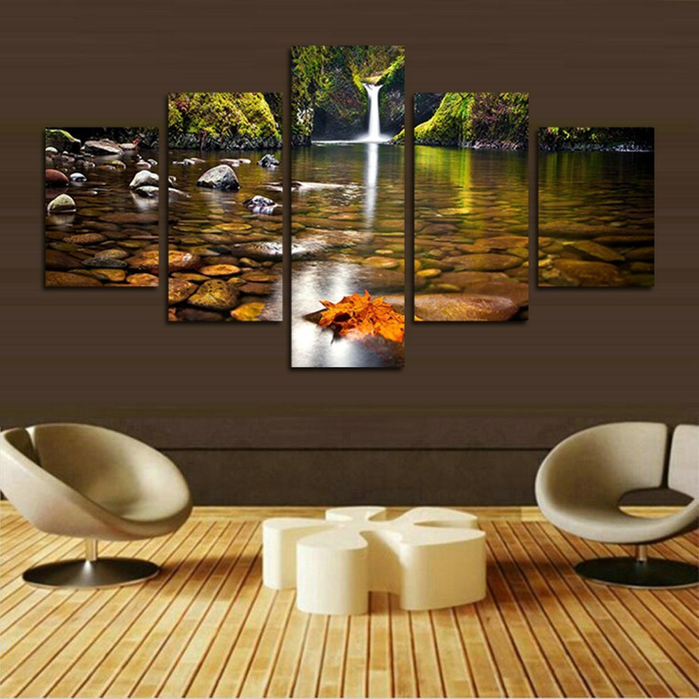 Fipart Diy Diamond painting cross stitch crafts, home modern decoration, 5 sets of splicing painting. waterfall 50x30inch