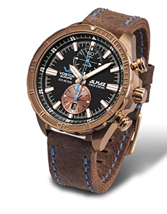 Vostok Europe Almaz Bronze Chrono Mens Watch Brown Leather Strap 6S11/320O266