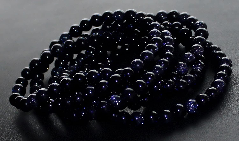 Blaufluss Kugel Edelstein Stretch Armband 6mm Größe wählbar 6S148