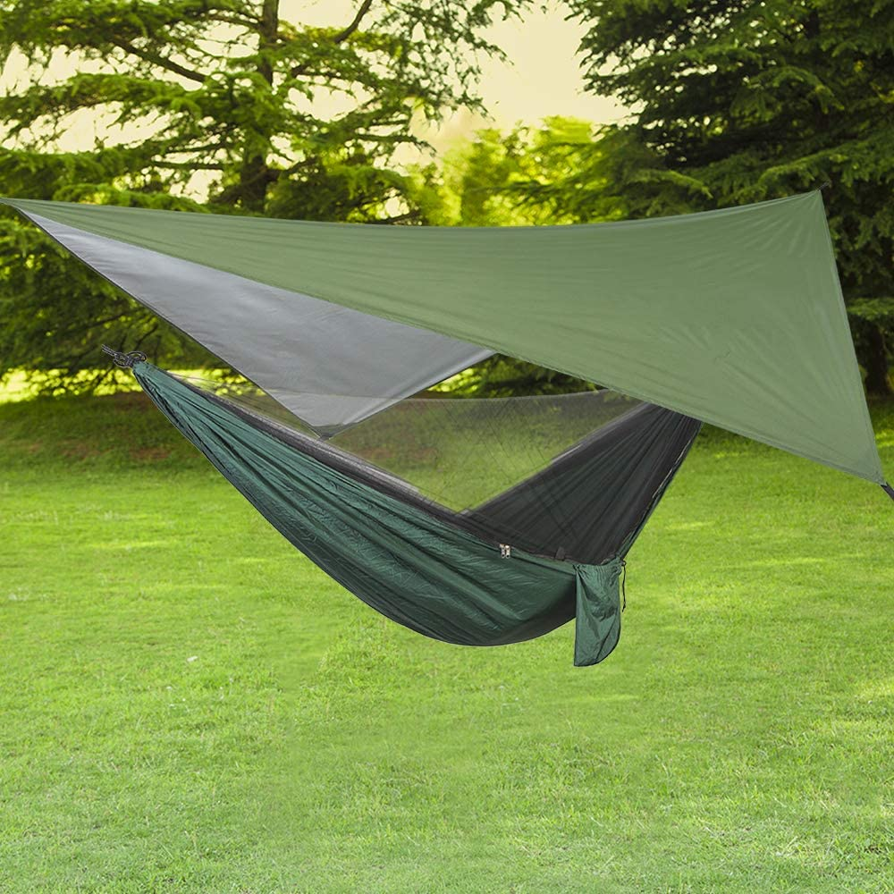 ele ELEOPTION Hamaca de Camping 3 en 1 con mosquitera y Lona de Tienda de campaña, Capacidad de Carga de 300 kg, hamacas Transpirables, mosquitera, ...