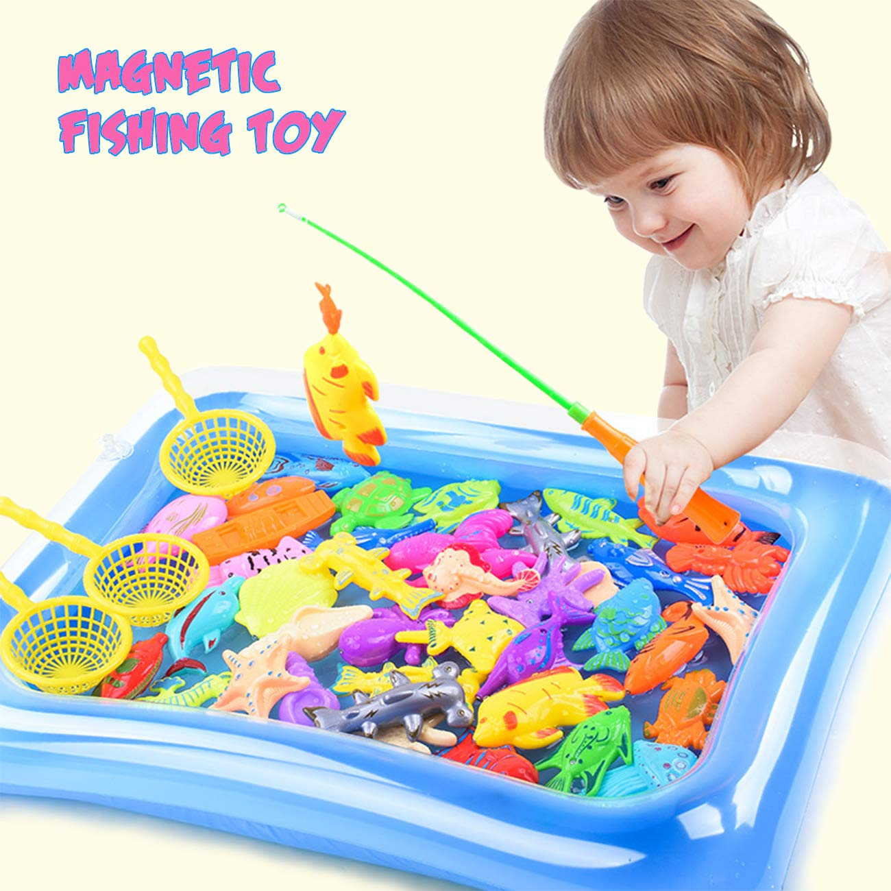 DC-BEAUTIFUL 32 Piece Fishing Toy Baby Bath Toy Magnetic Net Fishing Game Fishing Learning Education Play Set Outdoor Fun Best Gift for Children Fishing Game for Kids Party Favors