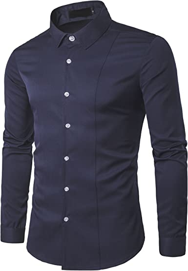 Kuson - Camisa Formal - Liso - Clásico - para Hombre Azul Marino ...
