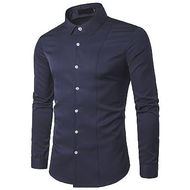 Kuson Camisa de manga larga para hombre camisas clásicas de negocios de ocio slim fit: Amazon.es: Ropa y accesorios