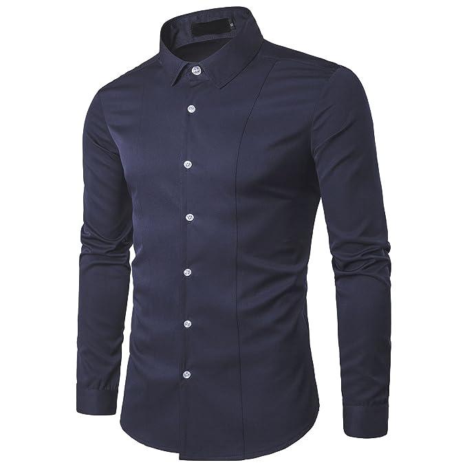 b6ff4f590d5 Kuson Camisa de manga larga para hombre camisas clásicas de negocios de  ocio slim fit: Amazon.es: Ropa y accesorios