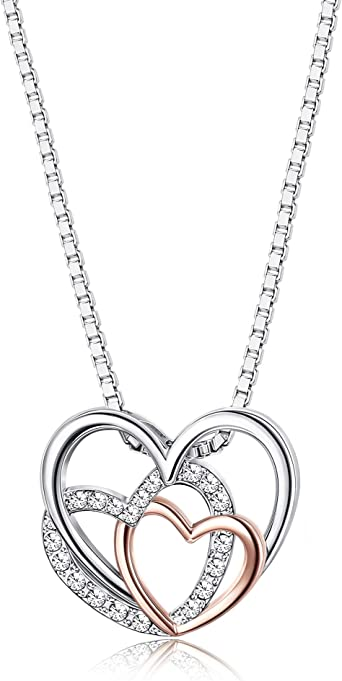 Gifts for Her Love Necklace Love Jewelry Valentines Gifts Silver Rose Gold Gold Necklace Teen Gift Lovers Necklace Heart Necklace