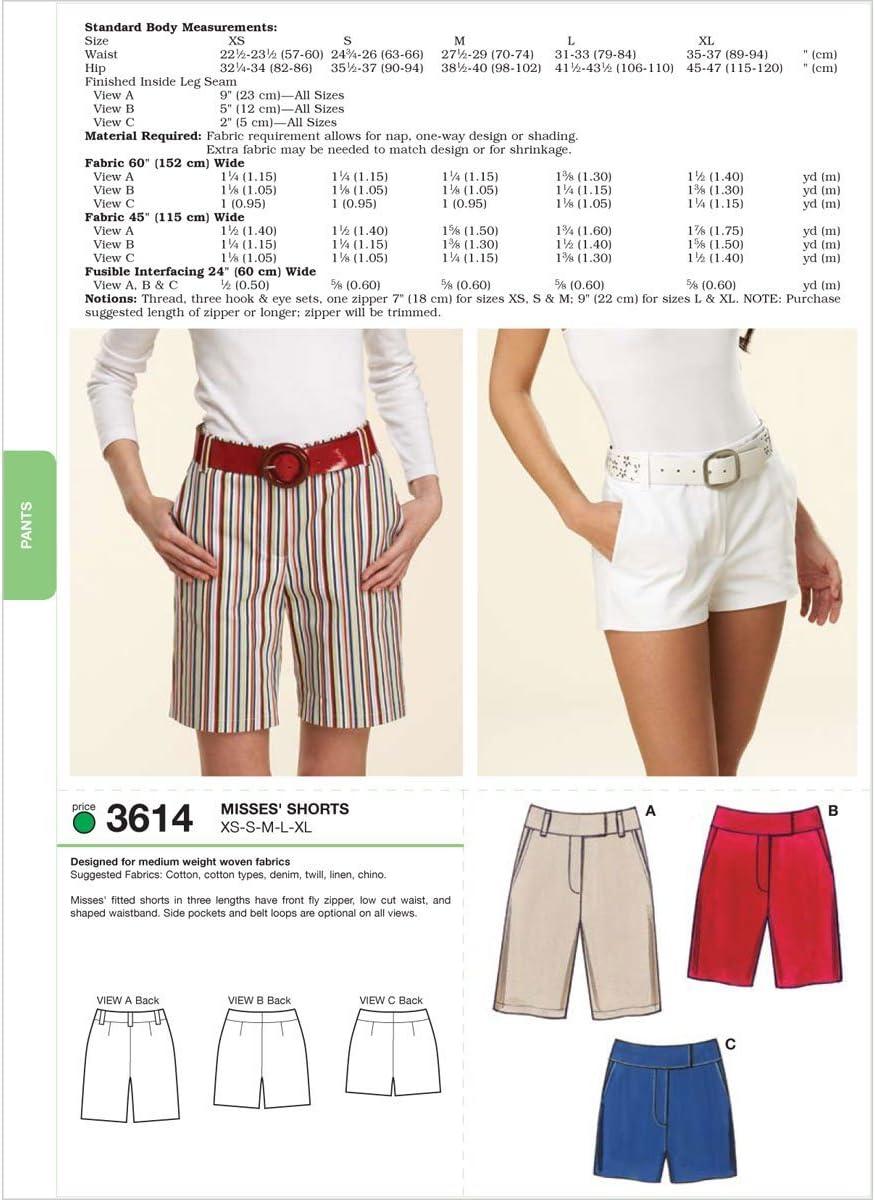 Tallas XS, S, M, L y XL KWIK-SEW PATTERNS K3614 Color Blanco Patrones de Costura para Pantalones Cortos de Mujer