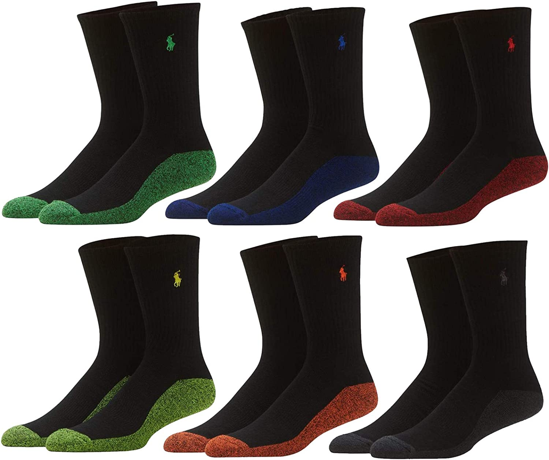Polo Ralph Lauren Men's Assorted Classic Sport Crew Socks - 6 Pairs