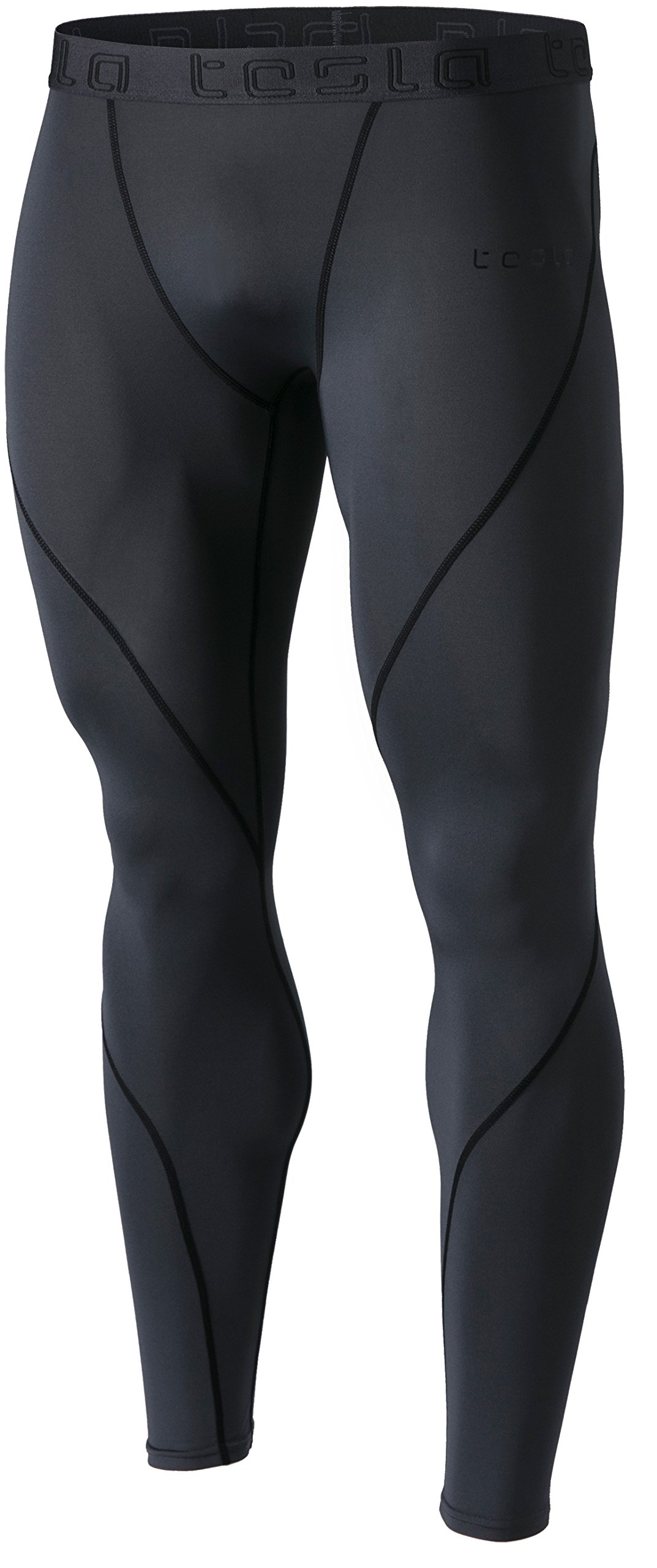 TSLA Men's Compression Pants Running Baselayer Cool Dry Sports Tights, Athletic(mup19) - Charcoal, Large by TSLA