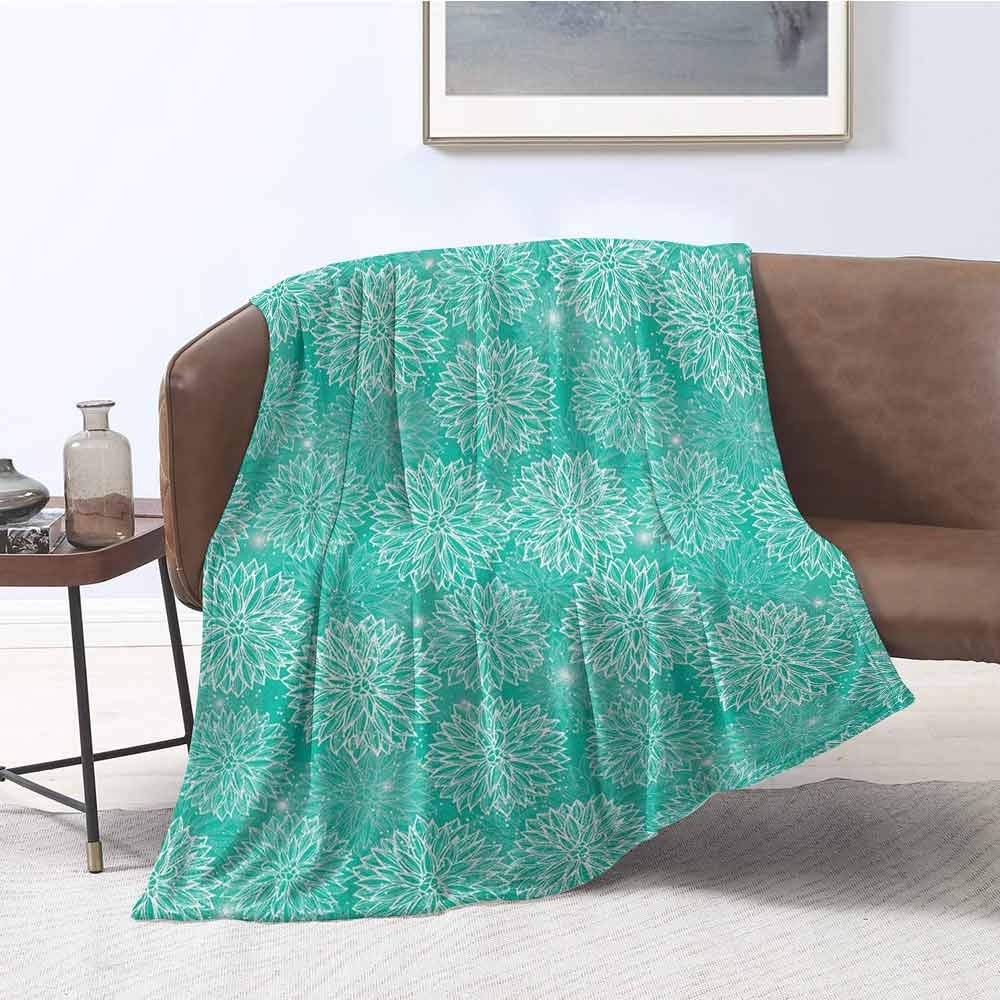 """Luckyee Bedding Sets Dahlia Flower Repeating Figures Fashioned Dots Spots Mother Earth Theme Peony Graphic Image White Teal Plush Throw Blanket 50""""x60"""" inch"""