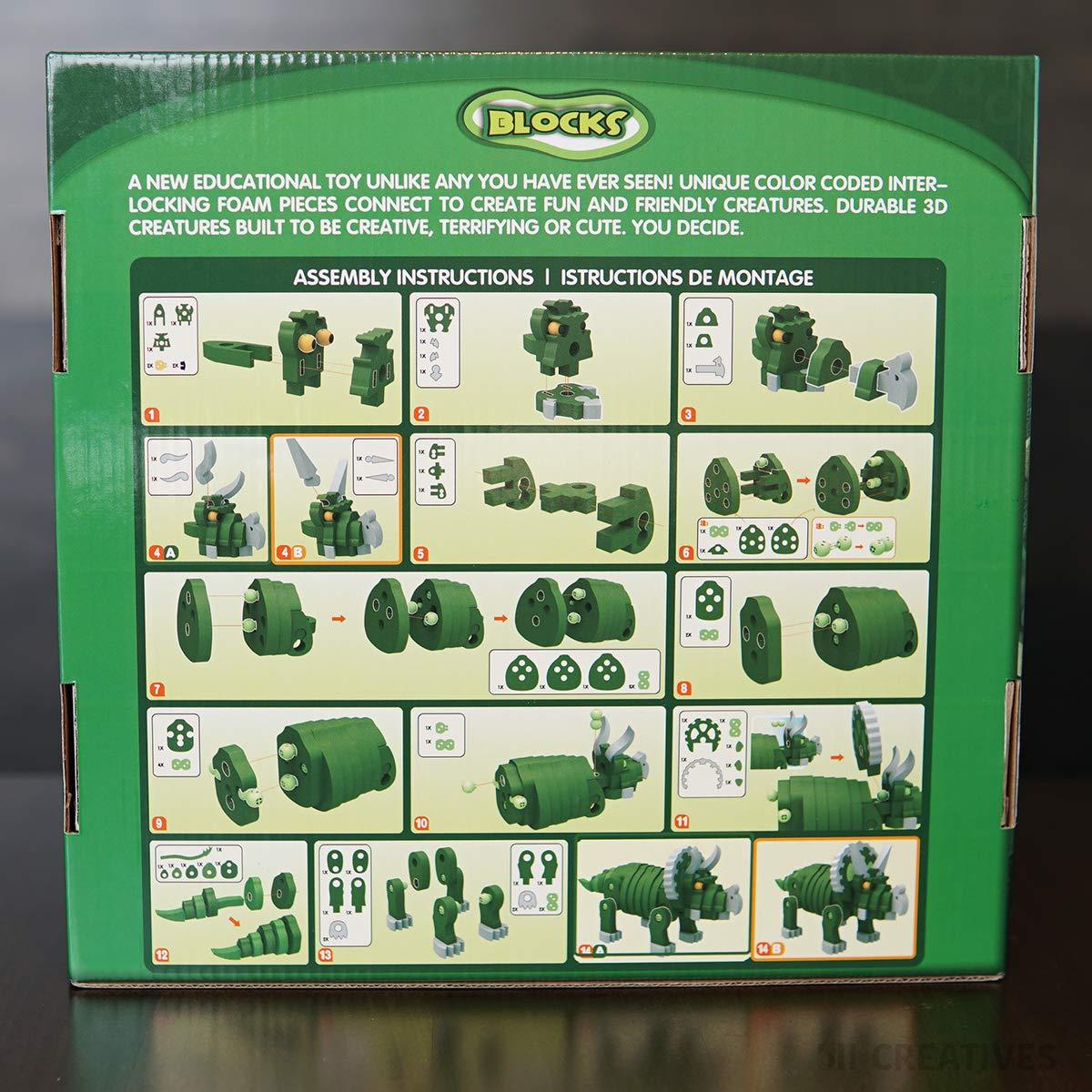 Educational Toys for Children 511 Creatives Original 3D Interlocking Foam Puzzles Blocks Triceratops Dinosaur STEM Toys