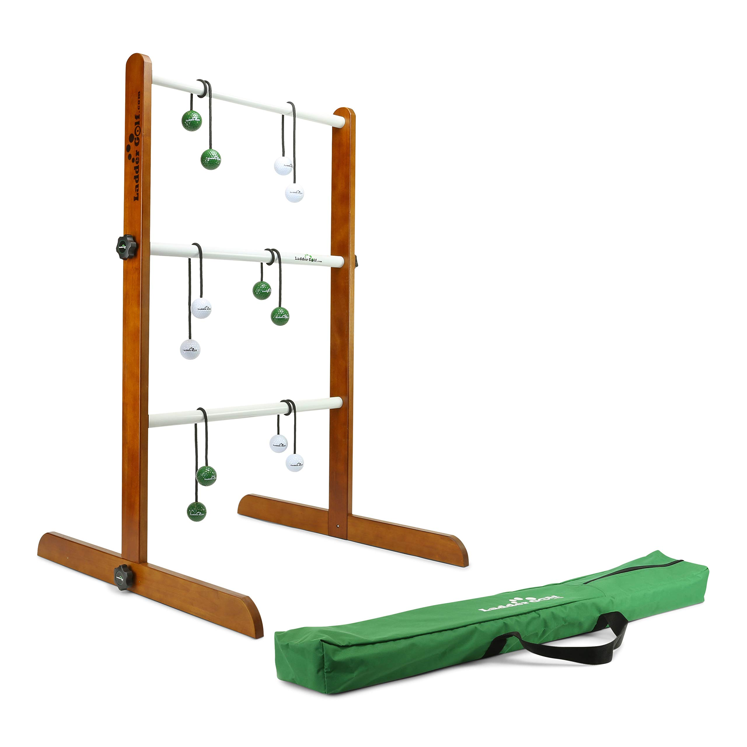 Ladder Golf - Single Ladder Ball Game (Green + White Bolas) Official Brand Game (G/W)