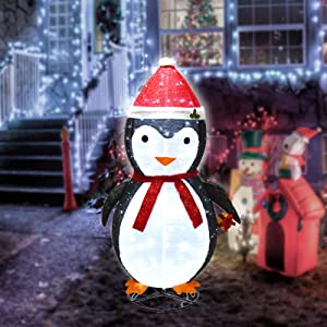 aonear 200 LED Christmas Penguin Decoration, 6Ft Christmas Lighted Penguin with Clear Lights, Plug-in Christmas Light Up Penguin for Indoor Outdoor Yard Holiday Decor