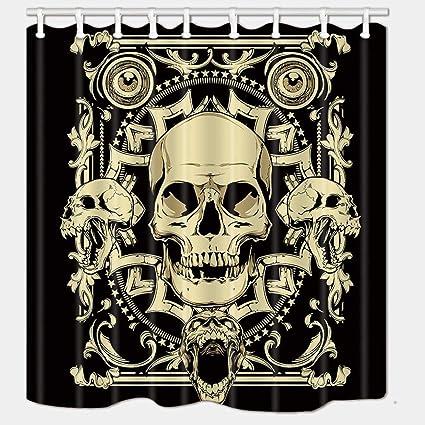 DYNH Skull Shower Curtain Crazy Golden Skulls On Black Geometric Print Halloween Mildew Resistant