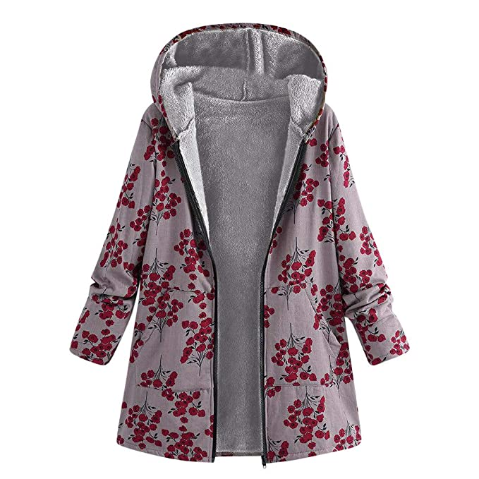 DongDong Clearance❤Womens Fluffy Oversized Coat, Vintage Zipper Thicken Faux Fur Hooded Winter Floral Print Pockets Outwear at Amazon Womens Clothing ...