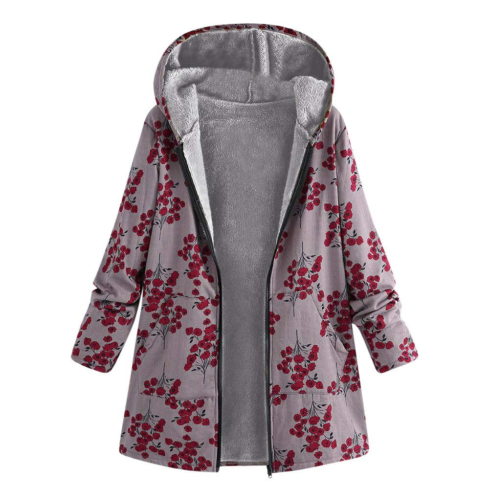 JUTOO Womens Winter Warm Outwear Floral Print Hooded Pockets Vintage Oversize Coats