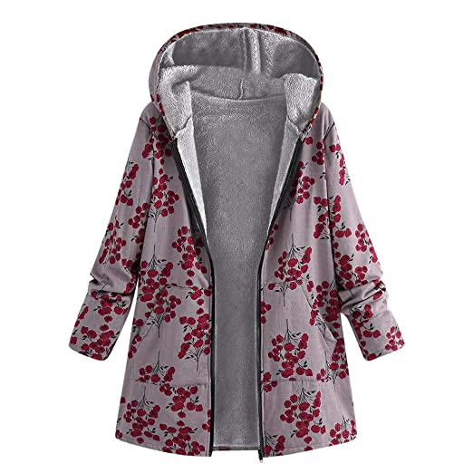 FEDULK Clearance Hooded Coat For Women Oversize Winter Warm Floral Print Vintage Sweatshirt(Red ,