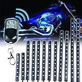 MOTOSTAR バイク汎用 LEDキット RGBストリップライト 15色パターン 12本セット オートバイ 防水LED テープライト 5050 SMDLEDタイプ 【1年保証】