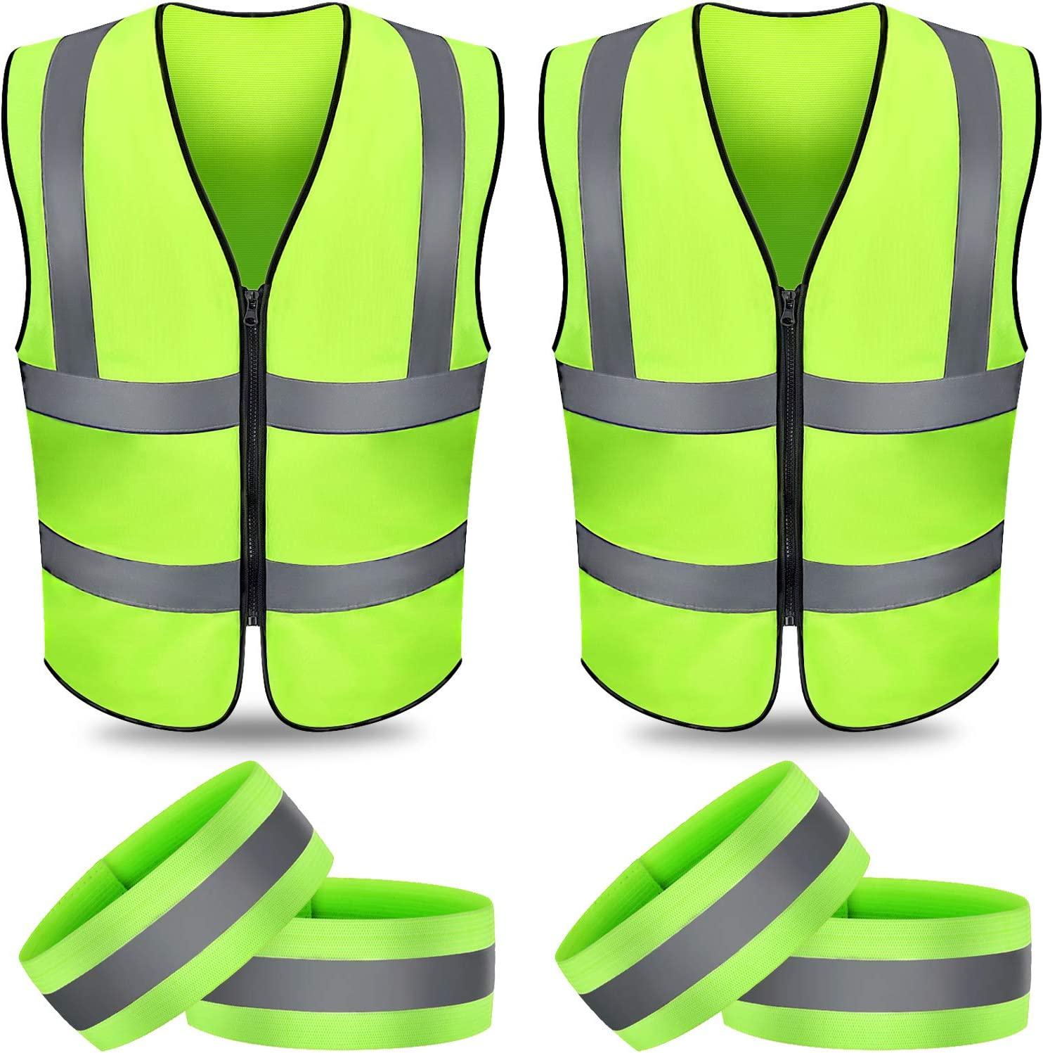 2 Pieces Reflective Vest Running Gear with 4 Pieces Reflective Armband Straps High Visibility Safety Vest Outdoor Elastic Reflective Band for Women Man Night Cycling Walking Jogging Motorcycle