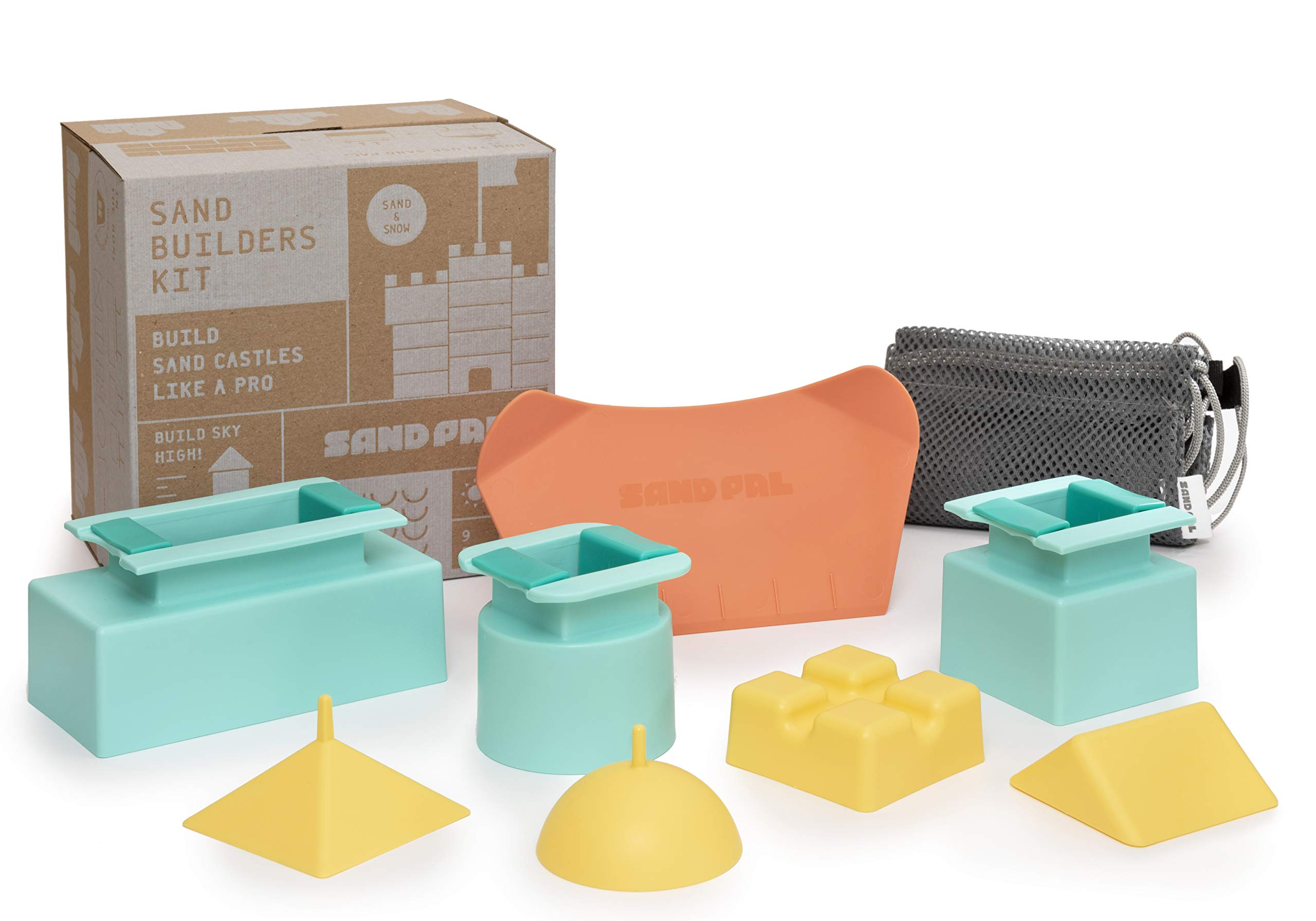 Sand Pal Beach Sand & Snow Castle Building Kit, 9-Piece Brick Maker and Toy Set, Construction Shape Molds for Girls and Boys Summer & Winter Fun for Toddlers to Teens and Adults, with Carrying Case by Sand Pal