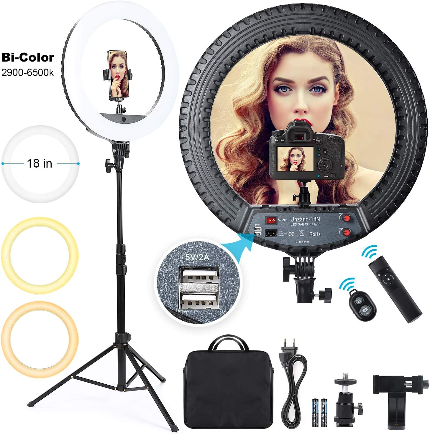 Ring Light 18 inch with Tripod Stand&Phone Holder,Outer 55W Remote Control 3000K-6500K Dimmable LED Ringlight kit for Live Streaming Makeup YouTube Video Camera Beauty Photography