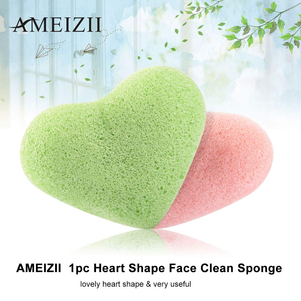 Face Skin Care Tools Ameizii 1pc Heart Shape Face Clean Sponge Facial Puff Face Washing Sponge Facial Cleaning Cleansing Tool Puff For Facial Care Skin Care Tool