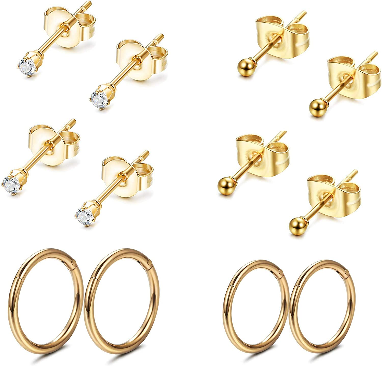 FIBO STEEL Stainless Steel Cartilage Earrings for Men Women Ball CZ Stud Earrings Helix Conch Daith Piercing Jewelry Set