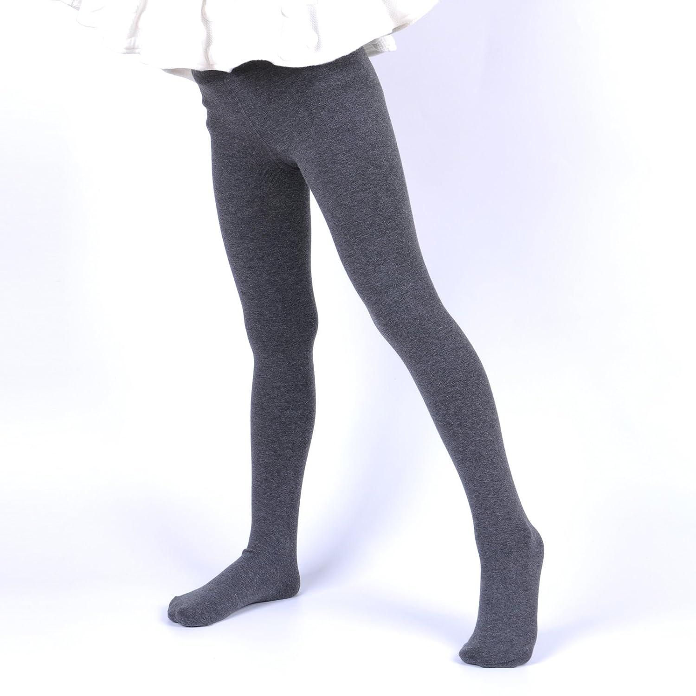 Innabella Girls Soft Cotton Melange Fleece Lined Heather Color Tights