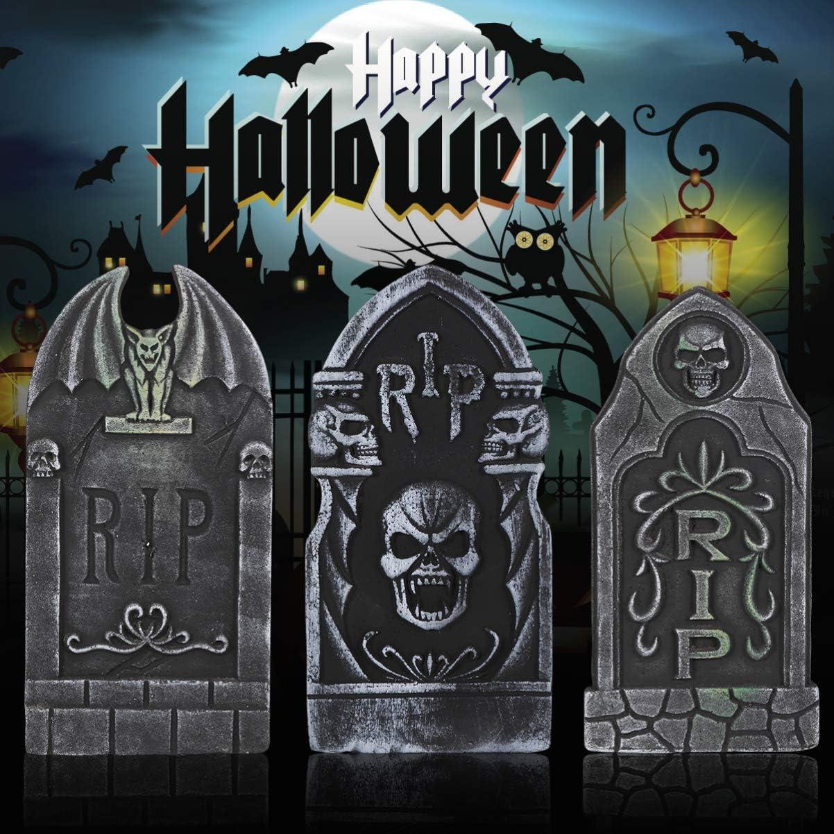 Halloween Foam Tombstones Halloween Yard Decorations Lawn Headstones Spooky Haunted House Decorations 5PCS