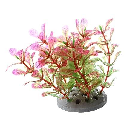 SODIAL(R) Planta Plastico Decoracion para Acuario Pecera Color Rosa Verde 10cm