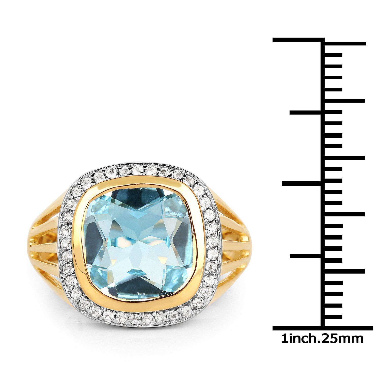 Johareez 4.64 cts Blue Topaz /& White Topaz .925 Sterling Silver 14K Yellow Gold Plated Ring for Women