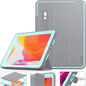 iPad 8th/7th Generation Case, New iPad 10.2 Inch 2020/2019 Case Smart Magnetic Auto Sleep / Wake Cover Hybrid Leather with Stand Feature for New iPad 10.2 Release (Gray/SkyBlue)