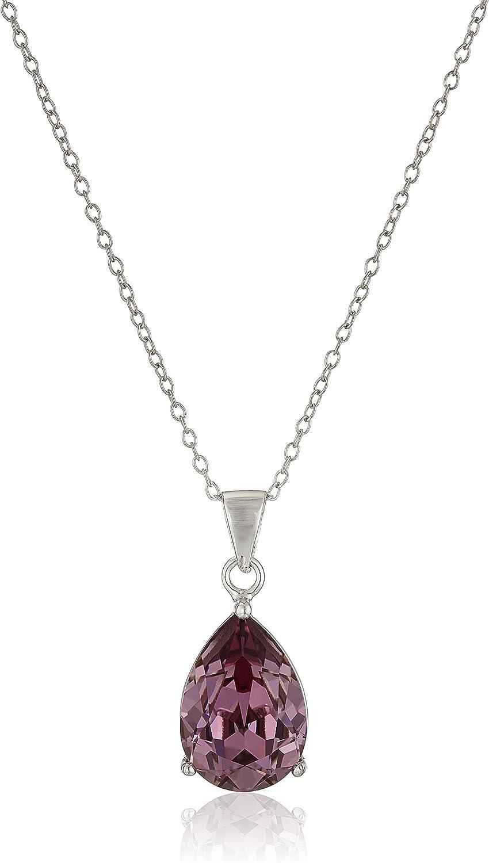 "Sterling Silver Swarovski Crystal Teardrop Pendant Necklace, 18"""