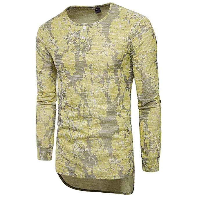 Camiseta Manga Larga para Hombre, JiaMeng Otoño Invierno Casual O-Neck Slim Suéter Tops Blusa de Moda Camisa con Cuello Redondo, Top Casual Estampado: ...