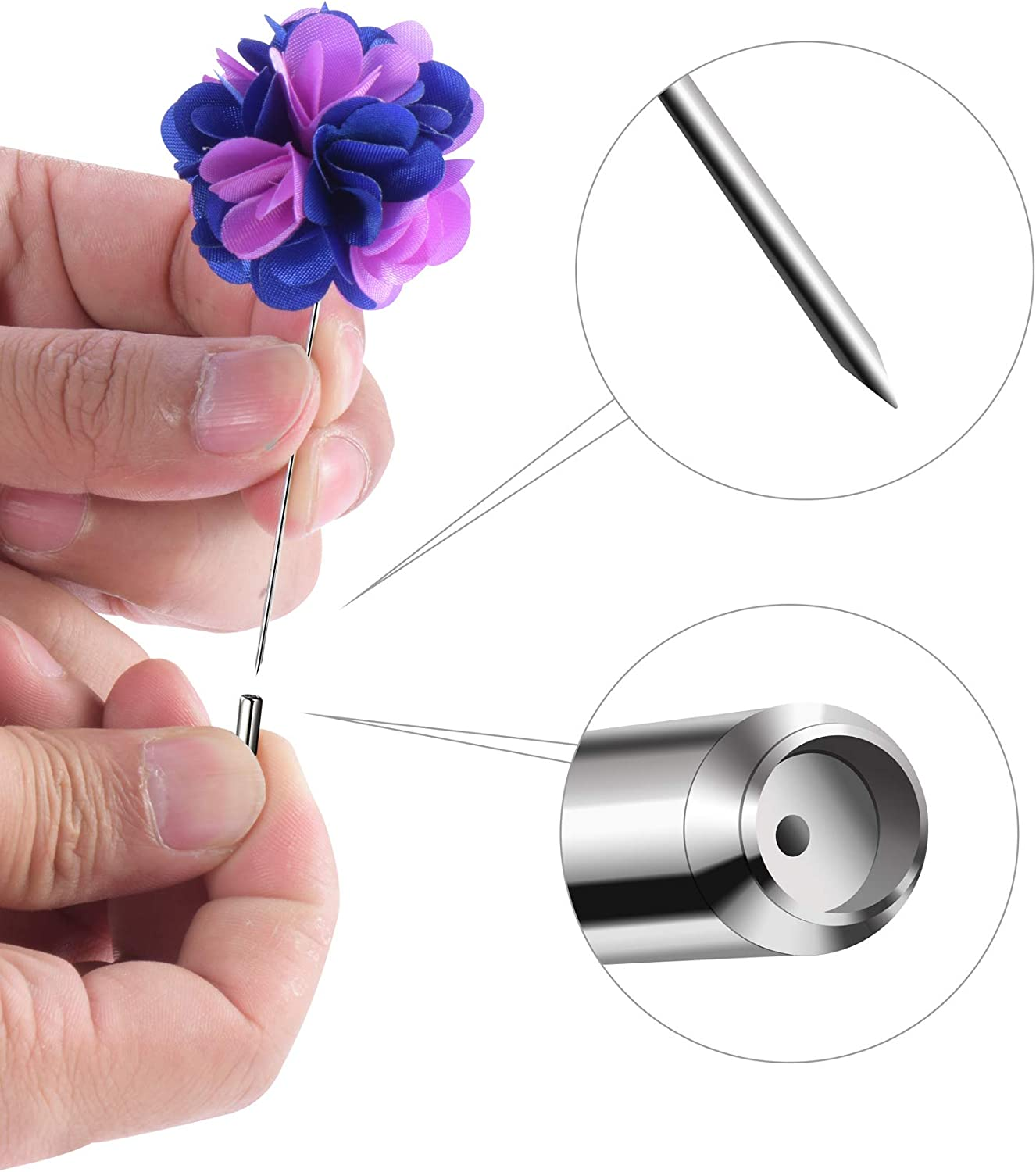 Fanrel 16 Pieces Flower Mens Lapel Pins Handmade Satin Boutonniere Pin for Suit Wedding Groom with a Box