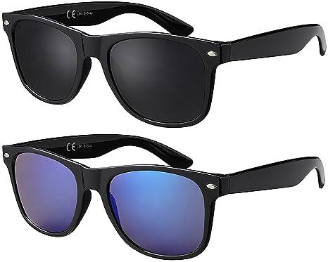 La Optica Original UV400 Unisex Retro Sonnenbrille Pilot - Farben, Einzel-/Doppelpacks, Verspiegelt (Doppelpack Gummiert (Rahmen: 1 x Schwarz, 1 x Blau verspiegelt))