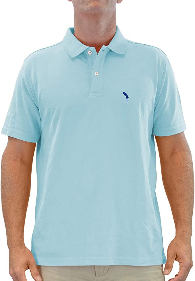 Custom Polo Shirts for Men Green Palm Trees and Hammock Embroidery Cotton