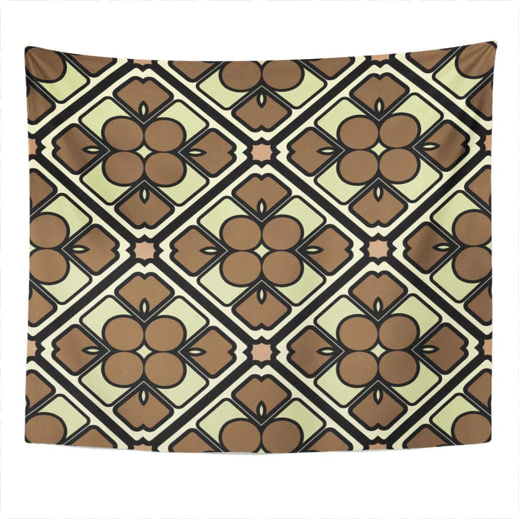 Suklly Tapestry Wall Hanging Brown Zigzag Abstract Geometric 30S Deco Artdeco Elegant Funky Graphic Home Decor Polyester Living Bedroom Dorm 50 X 60 Inches Picnic Mat Beach Towel Bed Cover