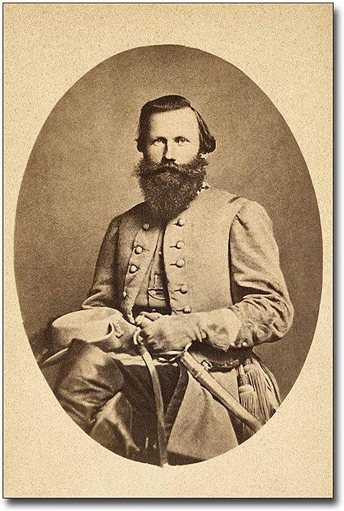 Civil War Confederate Major General J E B Stuart Copy Portrait /& Autograph Card