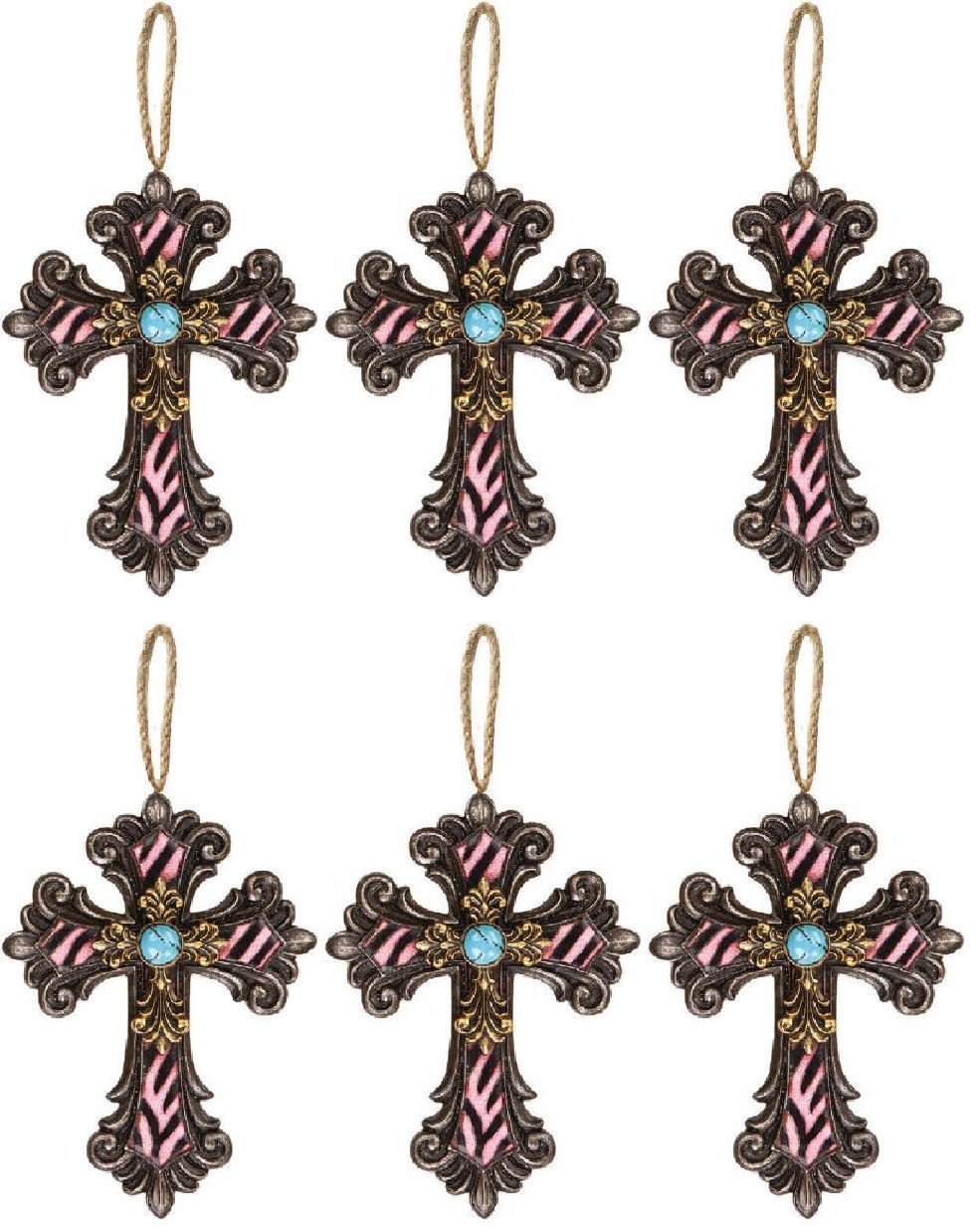 Manual Woodworker & Weavers Divine Zebra Cross DÃcor/Ornaments, 6.5-Inch, Pink, Set of 6