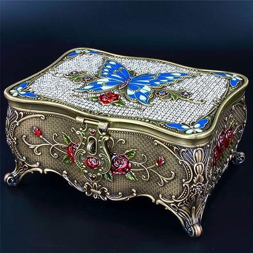 Joyero maleta joyero caja de almacenamiento Retro Metal Rose Set ...