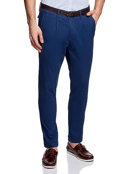 oodji Ultra Hombre Pantalones Chinos con Cinturón TpD3LH