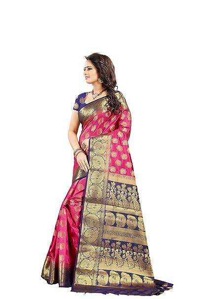 c9591e8e28b Image Unavailable. Image not available for. Colour  Ethnic Diwa Pink Art  Silk Kanjivaram Saree With Blouse Piece ...