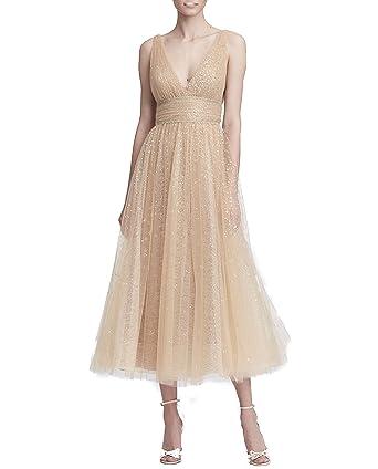 14f89896 Marchesa Notte Women's Sleveeless V-Neck Glitter Tulle Midi_Tea Dress at Amazon  Women's Clothing store: