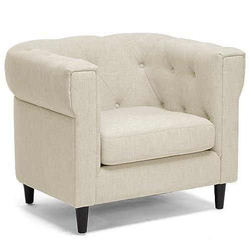 Baxton Studio Cortland Linen Modern Chesterfield Chair, Beige