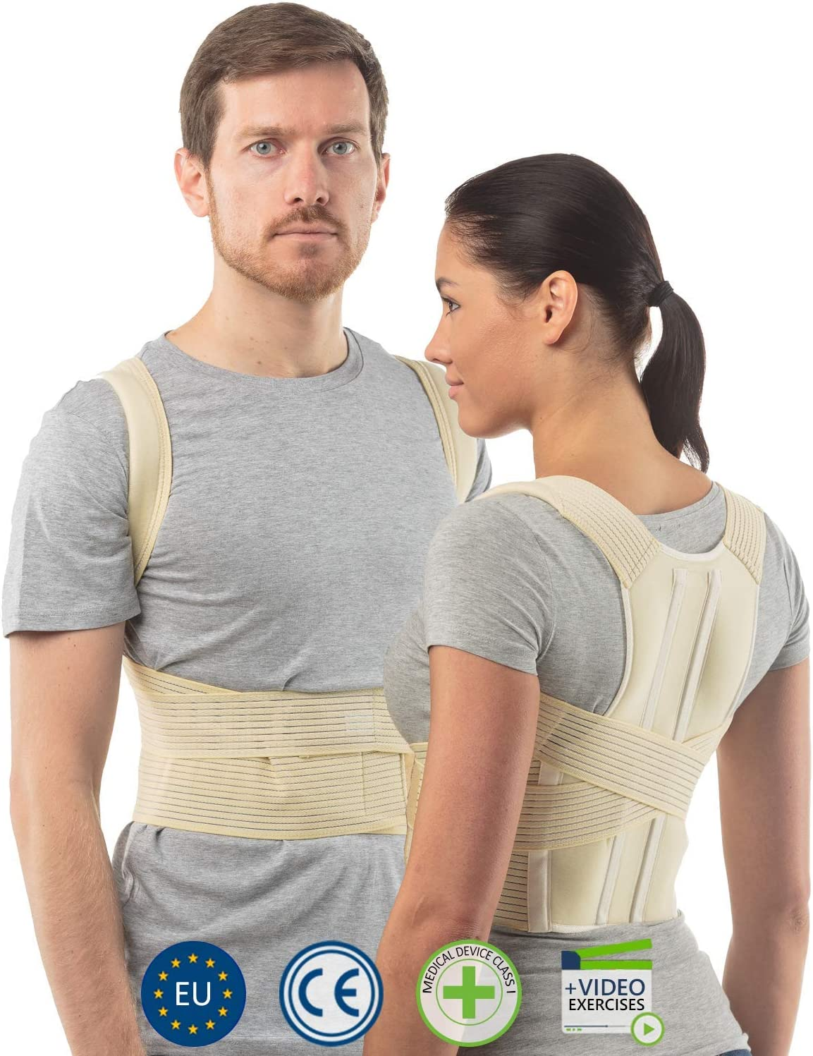aHeal Corrector de Postura de Espalda para Hombre y Mujer | Soporte de Espalda y Columna Lumbar Superior para Corrección de Postura | Alivio del Dolor y Rehabilitación de Lesiones | Talla 4 Piel