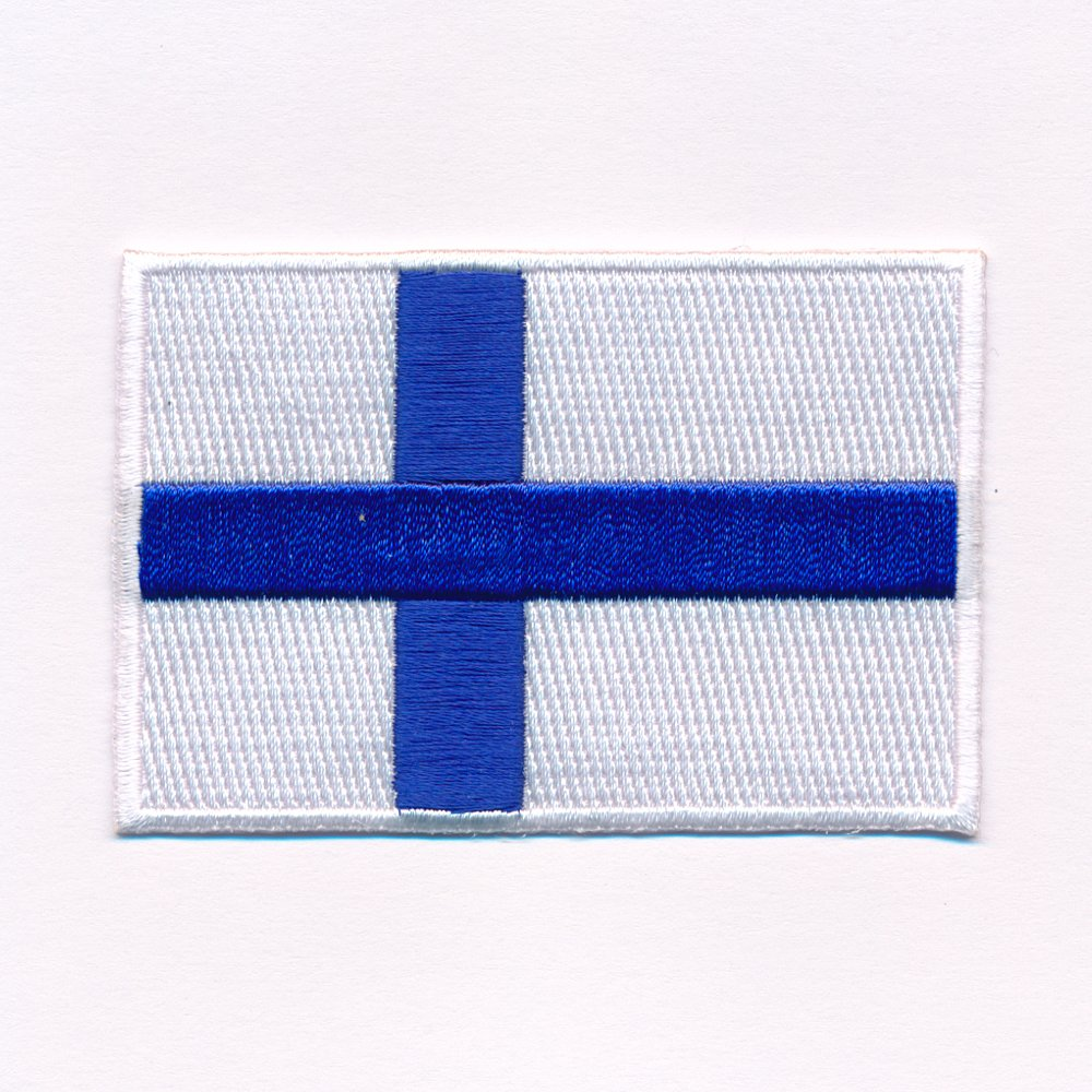 40  x 25  mm Finland Helsinki Flag Finland Flag Sew-On Badge/Iron-On Patch 0638  A Import / Hegerring